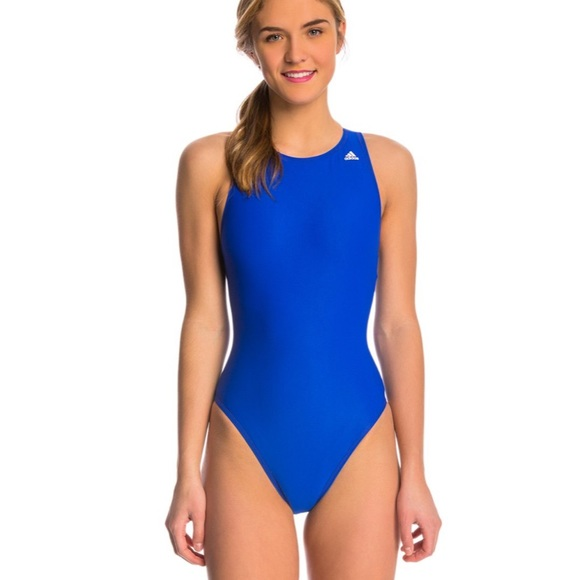 Adidas High Neck Waterpolo One Piece Blue Swimsuit